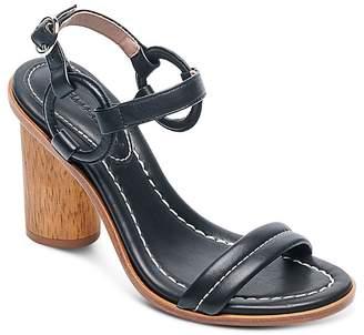 Bernardo Women's Leather Circle Strap Block Heel Sandals