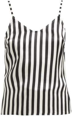 Morgan Lane - Mackenzie Striped Silk Camisole Top - Womens - Black White