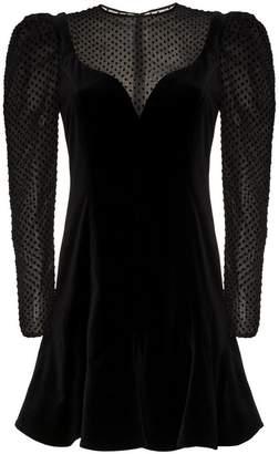 Valentino velvet long sleeve puff dress