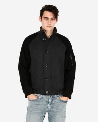 Express Wool-Blend Color Block Bomber Jacket