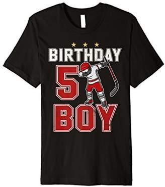 5 Year Old Birthday Boy dabbing Ice Hockey T-Shirt 5th Gift