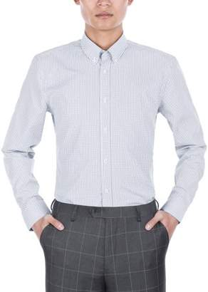 Verno Mens Slim Fit Long Sleeve Navy and White Plaid Dress Shirt