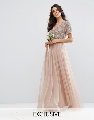 Maya V Neck Maxi Tulle Dress with Tonal Delicate Sequins $138 thestylecure.com