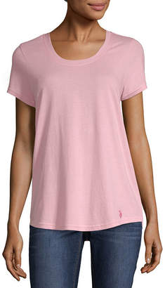 U.S. Polo Assn. Short Sleeve Scoop Neck T-Shirt-Womens Juniors