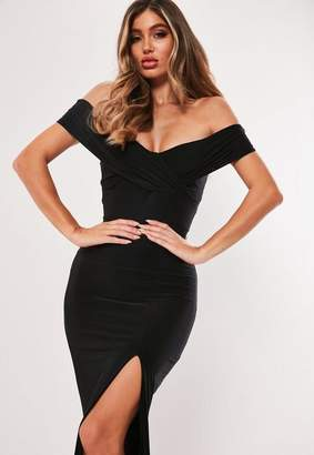 Missguided Black Bardot Wrap Slit Slinky Maxi Dress 245db5dd1