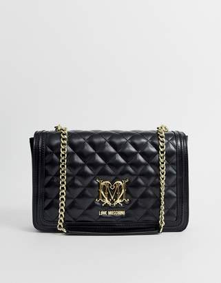 Love Moschino quilted shoulder bag with chain in black