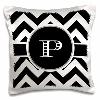 3dRose Black and white chevron monogram initial P, Pillow Case, 16 by 16-inch