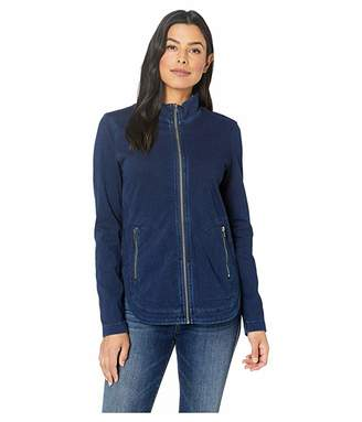 Liverpool Zip Front Curved Hem Boxy Jacket in Knit Denim