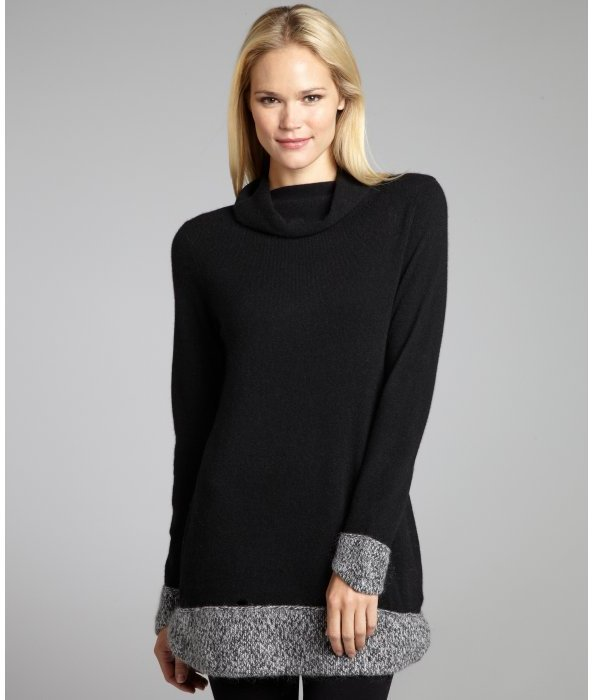 Magaschoni black cashmere funnel neck sweater