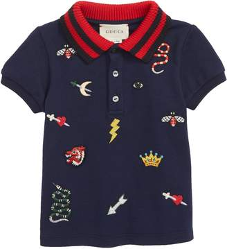 Gucci Embroidered Cotton Pique Polo