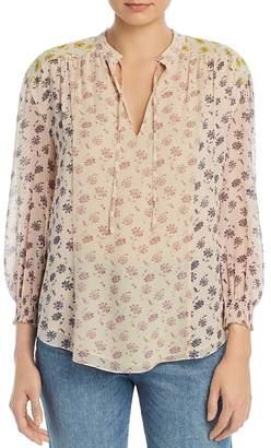 Joie Tyla Color-Block Floral-Print Silk Blouse