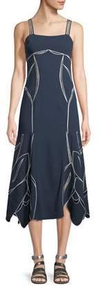 Tanya Taylor Scarlett Sleeveless Tulip-Embroidery A-Line Midi Dress