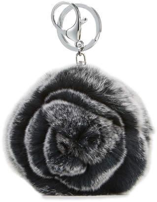 Adrienne Landau Rabbit Fur Rosette Pompom Key Chain, Black/Gray