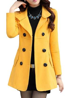 Cromoncent Women's Wool Blend Slim Thickened Outerwear Double Breasted Pea Coats S