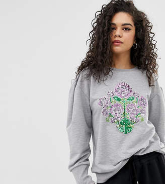 Chorus Tall Mutton Sleeve Sweater with Sequin Floral