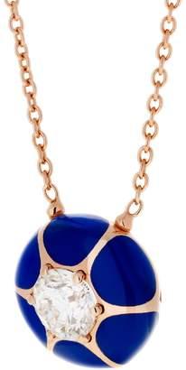 Selim Mouzannar Dark Blue Enamel Diamond Star Necklace - Rose Gold