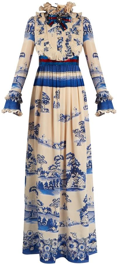 GucciGUCCI Porcelain garden-print silk gown