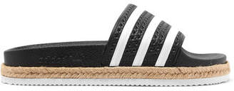 adidas Adilette Bold Rope-trimmed Striped Rubber Slides - Black