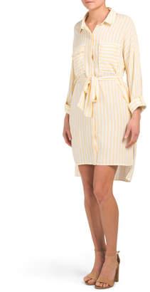 Roll Tab Button Down Stripe Shirt Dress