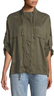 Neiman Marcus Lightweight Roll-Sleeve Spring Jacket