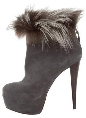 Alice + Olivia Fur-Trimmed Ankle Boots