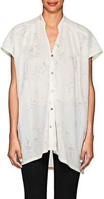 Pas De Calais Women's Animal-Sketch Graphic Cotton Blouse - White