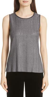 St. John Metallic Plaited Knit Sleeveless Top