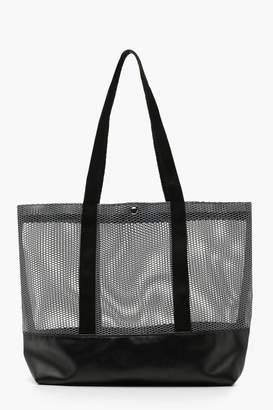 boohoo PU Base Mesh Shopper
