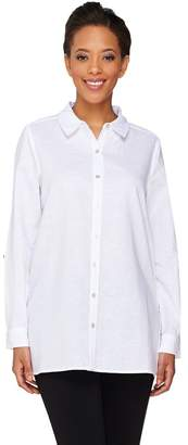 Susan Graver Linen Blend Button Front Long Sleeve Shirt