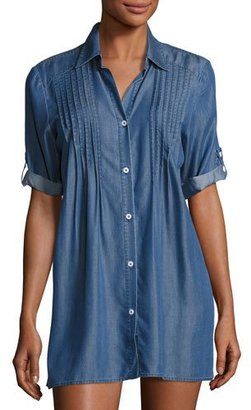 Tommy Bahama Cotton Chambray Pintuck Tunic Coverup, Blue $98 thestylecure.com