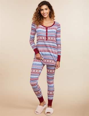 3868648aab2 Motherhood Maternity Pull Down Henley Nursing Pajama Set