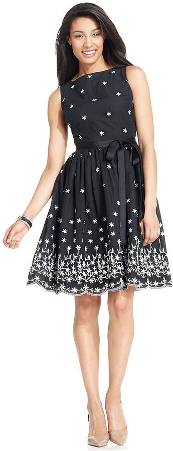 Charter Club Petite Dress, Sleeveless Embroidered A-Line