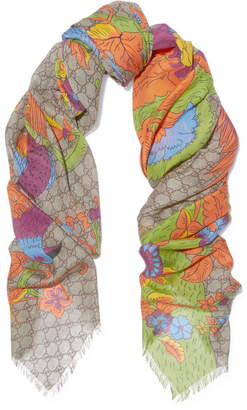 Gucci - Printed Modal And Silk-blend Scarf - Orange $335 thestylecure.com