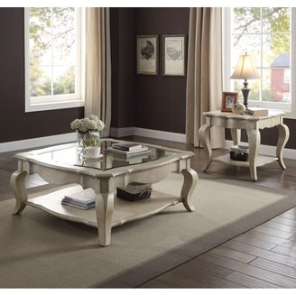 ACME Furniture ACME Chelmsford Coffee Table, Antique Taupe & Clear Glass