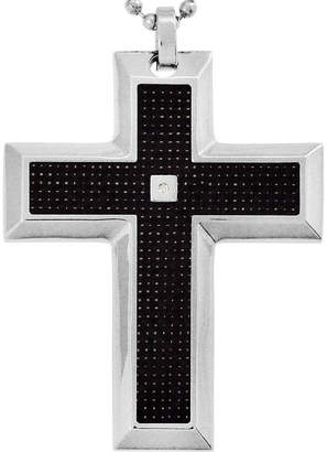 FINE JEWELRY Mens Diamond-Accent Cross Pendant Necklace Stainless Steel