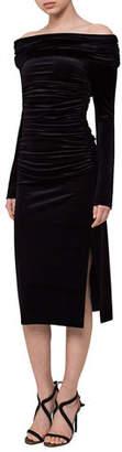 Akris Ruched Off-the-Shoulder Velvet Midi Dress