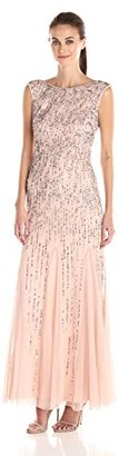Adrianna Papell Women's Sleeveless Beaded Gown with Godets and Linear Beading $256.01 thestylecure.com