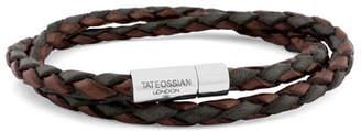 Tateossian Men's Braided Leather Double-Wrap Bracelet, Brown