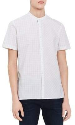 Calvin Klein Mixed-Grid Mandarin-Collar Shirt