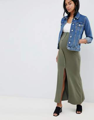 Asos DESIGN Maternity maxi skirt with button front and split detail