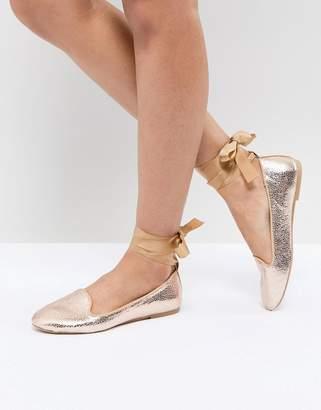 Raid RAID Rose Gold Ankle Tie Flat Shoes