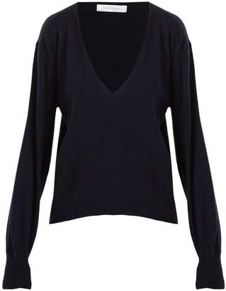 Roche Ryan Deep V Neck Cashmere Sweater - Womens - Navy