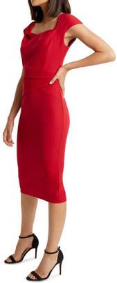 Lipsy Red Pleat Waist Midi Bodycon Dress