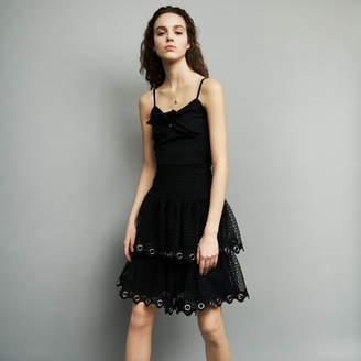 Maje Ruffled guipure lace skirt