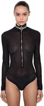 Lurex Zip-Up Bodysuit