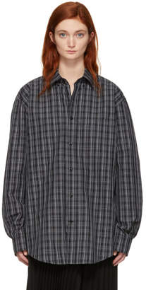 Balenciaga Black and White Check Logo Shirt