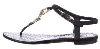 Chanel T-Strap Chain-Link Sandals