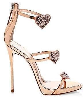 6bd579b5776 Giuseppe Zanotti Women s Swarovski Crystal  Leather Stiletto Heart Sandals