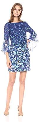 T Tahari Women's Tindra Printed 3/4 Sleeve Ruffle Shoulder Dress