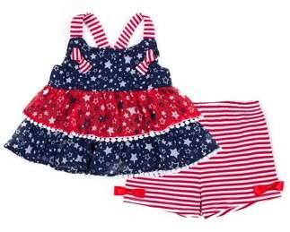 Little Lass Americana Tiered Tank Top and Short, 2-Piece Outfit Set (Little Girls)